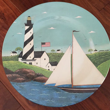Warren Kimble Plate, Coastal Breeze Sakura Serving Plate, American Folk Art, Melanine Platter, Nantucket Island Lighthouses, Sailboat Plate