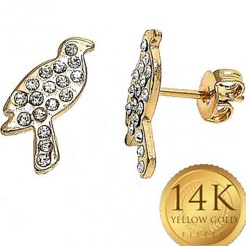 Gold Layered Women Bird Stud Earring, with White Crystal, by Folks Jewelry