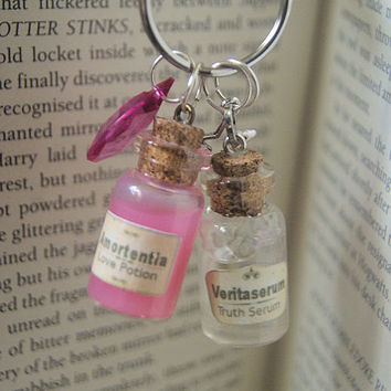 Harry Potter Inspired Potions set of 2 potions Veritaserum & Amortentia on one key ring