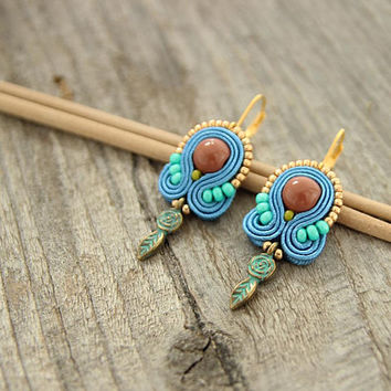 Small blue bohemian earrings, beaded soutache earrings, blue boho earrings