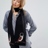 Yumi Owl Knit Scarf at asos.com