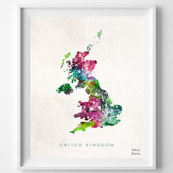 United Kingdom Map, UK Watercolor, British, London, Europe, Home Town, Poster, Country, Nursery, Wall Decor, Painting, world map [NO 456]