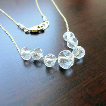 Crystal necklace, Carrie necklace, Wedding jewelry, Bridesmaid necklace, Simple everyday jewelry