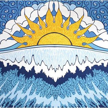 Handmade 100% Cotton Sun Wave Surf Tapestry Tablecloth Spread 60x90 Dorm Beach