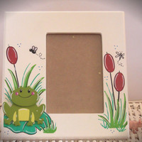 "Personalized Hand Painted Picture Frame With Frog Theme, 5""x7"""
