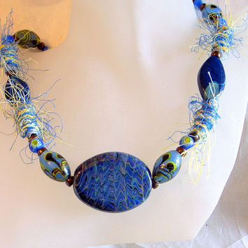 Murano Glass Statement Necklace - One Of A Kind-Hairy Silk Beads-Handmade Blue And Copper-24 Inches or 61cm In Handmade Murano Glass
