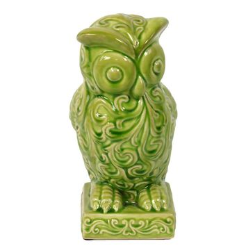 Ceramic Hooting Owl Figurine W/ Big Eyes & Embellished W/ Beautiful Motifs In Green