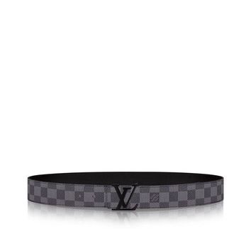 DCCK FREE SHIPPING Louis Vuitton Black Damier Graphite Belt 95/38