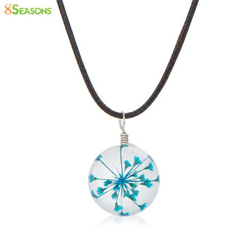 "8SEASONS Transparent Glass Globe Dried Flower Necklace Black Wax Cord Fuchsia 44.5cm(17 4/8"") long, 1 Piece"