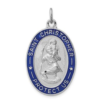 925 Sterling Silver Rhodium-Plated Enameled St. Christopher Medal