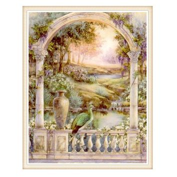 Needlework,DIY DMC 14CT Unprinted Cross stitch,Counted Embroidery Cross-stitch Kits set Peacock Garden home made arts Pattern