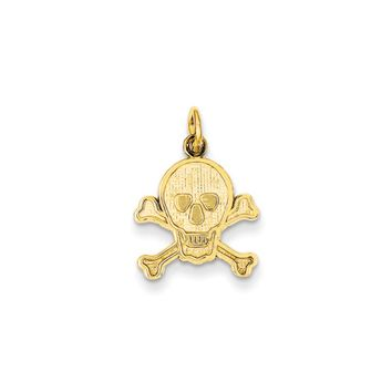 14k Yellow Gold Skull and Crossbones Textured Pendant or Charm