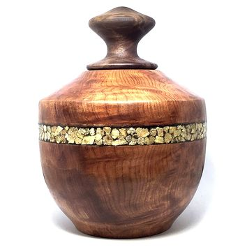 LV-4362  Redwood Burl & Black Walnut Burl Threaded Vessel, Lidded Urn with Vermiculite Inlay