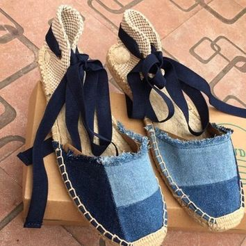 female 2017 fishion casual denim ankle strap cross tied hemp woven rome style flat sandals fisherman shoes
