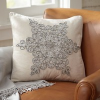 Snowflake Beaded Applique Pillow Cover