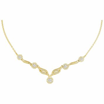 """14kt Yellow Gold Women's Princess Diamond Soleil Cluster Luxury 18"""" Necklace 1.00 Cttw - FREE Shipping (US/CAN)"""