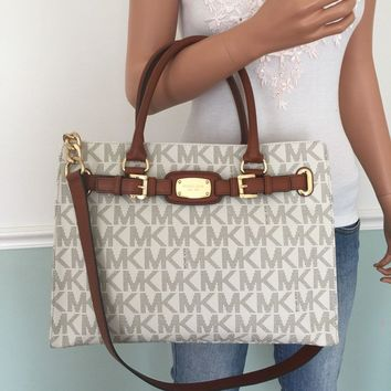 One-nice™ NEW! MICHAEL KORS Hamilton Vanilla MK PVC Leather Large Tote Shoulder Bag Purse
