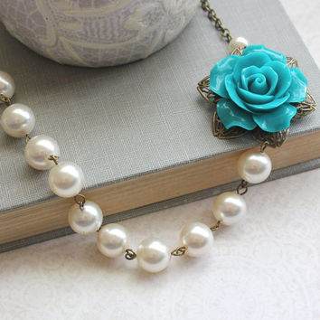 Teal Rose Necklace Floral Statement Necklace Asymmetrical Style Victorian Romantic Jewelry Chunky Pearl Necklace Cream Ivory Pearls