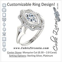 Cubic Zirconia Engagement Ring- The Cyra (Customizable Cathedral-bezel Marquise Cut Design with Floral Double Halo and Channel-Accented Split Band)