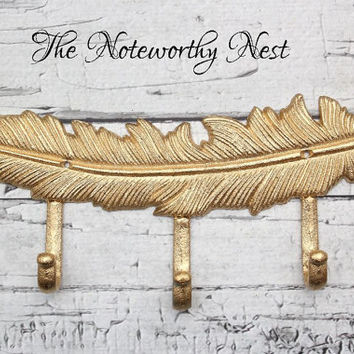 Feather Hook // Cast Iron Feather Decor // Feather Wall Art // Gold Feather // Feather Wall Hanging // Bathroom Hook // Bedroom Hook