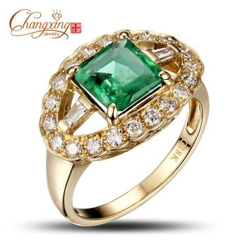 Real 14k Gold Natural 2.68ctw Colombian Emerald Diamond Engagement Ring Stunning