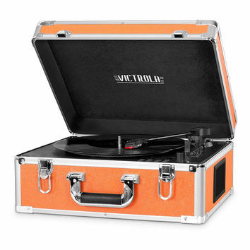 New Victrola Full Size Suitcase Record Player w/ Bluetooth Orange retro VSC-551