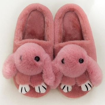 Warm indoor slippers women winter shoes 2018 new arrival solid rabbit plush female slippers woman's shoes large size 36-44