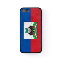 Subtle Grunge Flag - Haiti Flag 1 Black Silicon Rubber Case for iPhone 5/5s by World Flags