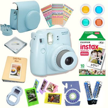 Fujifilm Instax Mini 8 Camera Blue + Accessories kit for Fujifilm Instax Mini 8 Camera Includes; Instant camera + Fuji Instax Film (10 PK) + Camera Case + instax Album + Frames + Selfie lens + MORE Standard