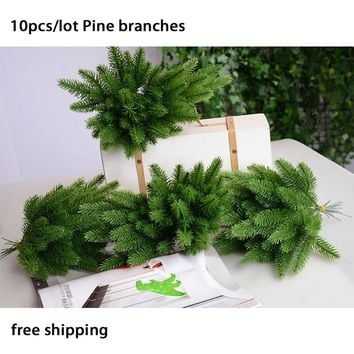 10pcs/lots artificial Pine branches green plants flower bouquet for wedding home Christmas gift diy decoration