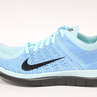 Nike Women's Free Flyknit 4.0 Ice Blue/Black Running Shoes 631050 402