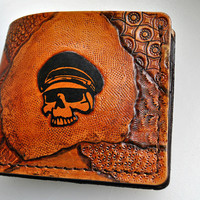 Dead face/ skull men thin wallet, bilfold, groomsmen gift wallet, real genuine leather