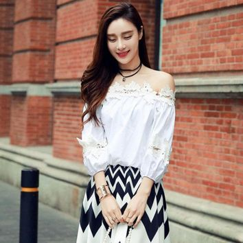 Real Photo High Quality 2016 Fashion Cute Loose Patchwork Hook Flower Slash Neck Off The Shoulder Sml Woman's Casual Shirt