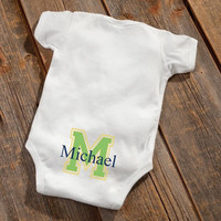 Personalized Baby Botty Onesuit - Baby Boy Initial Design