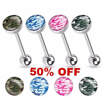 Camouflage Print Inlayed 316L Surgical Steel Tongue Ring 14ga Black Friday Cyber Monday