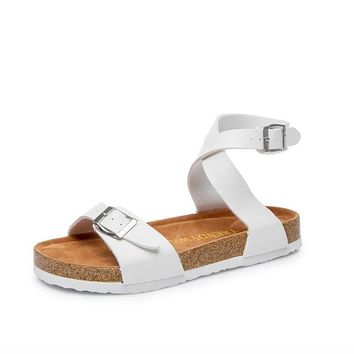 Summer fashion cork sandals flat beach shoes