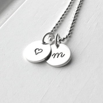 Small Initial Necklace with Heart Charm, All Letters Available, Sterling Silver Jewelry, Letter m Necklace, Initial Jewelry, Charm Necklace
