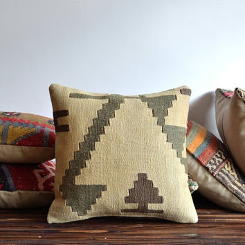 Handwoven Vintage Kilim Pillow - Kilim Pillow Cover - Decorative Pillow-Accent Pillow-Euro Sham Throw Pillow - Turkish Kilim Pillow Cover