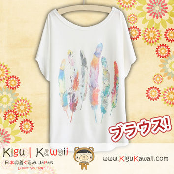 New Colorful Feathers Fashionable Loose and High Quality Spring and Summer Tshirt Free Size KK452