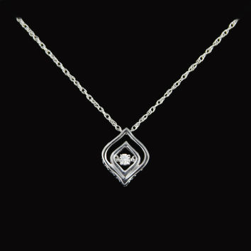 SPECIAL! Marque Style Diamond Heartbeat Pendent in Sterling Silver