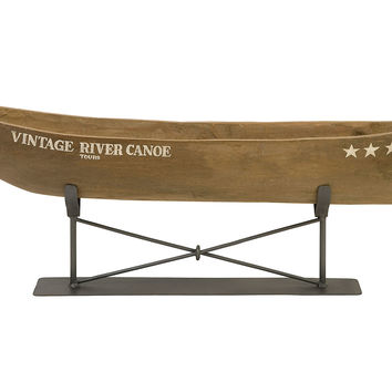 "30"" River Canoe on Stand, Natural, Figurines & Animal Figures"