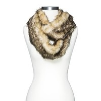 Women's Limited Edition Fur Texture Infinity Scarf - Natural