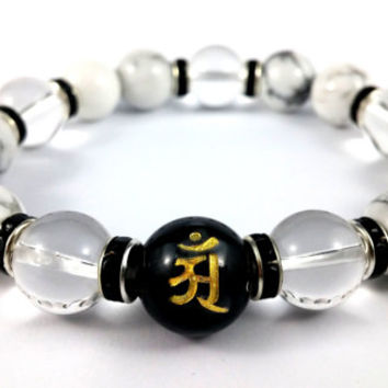 Black and White Beaded Bracelet, Black Onyx Bead, Howlite Gemstone, Buddha Bracelet, Yoga Bracelet, Women's Mens's Unisex Bracelet, Sanskrit