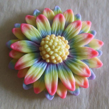 Love Wins! 3D Rainbow Pride Daisy Pendant Glow in the Dark Millefiore Jewelry by EyeGloArts