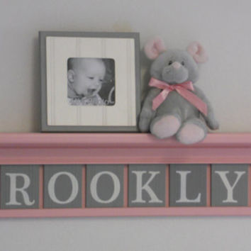 "Pink and Gray Nursery Girl Wall Decor 30"" Light Pink Shelf - Sign with 8 Wood Letters Custom for Baby BROOKLYN"