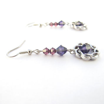 Purple Crystal Earrings, Swarovski Crystallized Elements