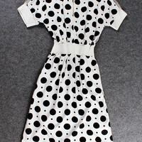 Polkatdots Short-Sleeve Zipper-Up A-Line Dress