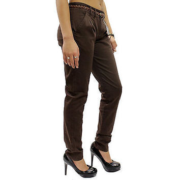 New Chocoate Brown Belted Skinny Chino Loose Fit Pants Size 1 Waist 28 RF0217