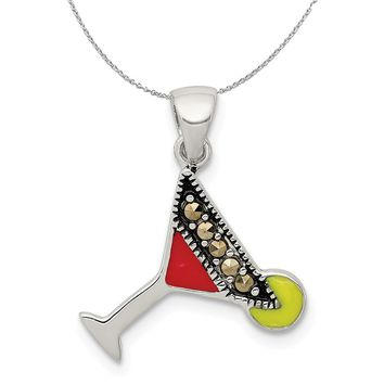 Sterling Silver, Enamel and Marcasite Martini Glass Necklace
