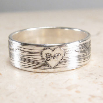 Woodland Wedding Band -  Faux Bois Ring - Engraved Wood Heart Ring - Personalized Ring